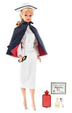 Celebrate classic Barbie careers with this My Favorite Career Collector Nurse Barbie Doll! This Barbie celebrates the Registered Nurse Barbie originally produced in 1961. This meticulous re-creation o... Barbie Vintage, Vintage Nurse, Vintage Tv, Vintage Dolls, Nurse Barbie, Barbie World, Mattel Barbie, Barbie And Ken, Barbie Collector