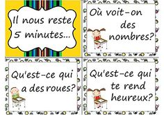 Il nous reste 5 minutes...great ideas for before the bell and classroom management/character development