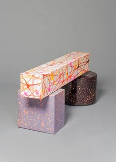 KUENG CAPUTO Never Too Much Bench 3, 2013  Leather and enamel 18 1/4 × 42 × 13 1/2 in 46.4 × 106.7 × 34.3 cm