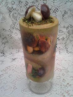 altered coffee jar with mushroom on top