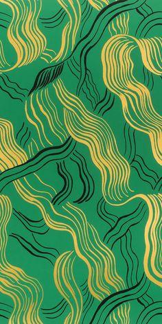 KELLY WEARSTLER | JUBILEE METALLIC WALLPAPER. In Green/Gold/Black
