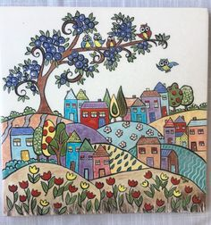 Ink Painting on fabric Ink Painting, Fabric Painting, Watercolor Art, Turkish Art, Naive Art, Whimsical Art, Art Plastique, Islamic Art, Indian Art