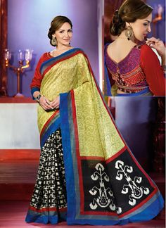 Bollywood Replica Bitter Lemon & Black Art Silk Saree!! SHOP THIS TRENDY SAREE FROM HERE. Product Code: 5876 ||2,775/-INR||