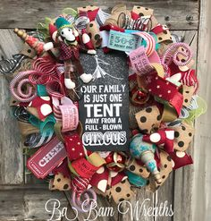 Everyday Wreath All Season Wreath Door Hanging by BaBamWreaths Xmas Wreaths, Deco Mesh Wreaths, Door Wreaths, Door Hanging Decorations, Circus Decorations, Year Round Wreath, 4th Of July Wreath, Diy Wreath, Burlap Wreath