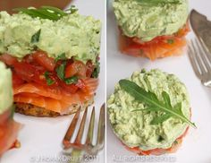 Smoked salmon and avocado stacks - Cooksister Salmon Avocado, Smoked Salmon, Avocado Guacamole, Quick Snacks, Healthy Snacks, Healthy Recipes, Appetizer Recipes, Dinner Recipes, Appetizers
