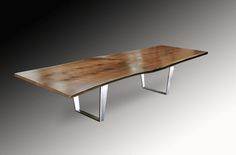Live Edge Book Matched Black Walnut Solid Wood Slab Dining Table with Brushed Steel Double Folded Trapezoid Base Wood Slab Dining Table, Dining Table Design, Dining Tables, Studio Living, Live Edge Wood, Ping Pong Table, Furniture Making, Solid Wood, Interior Design