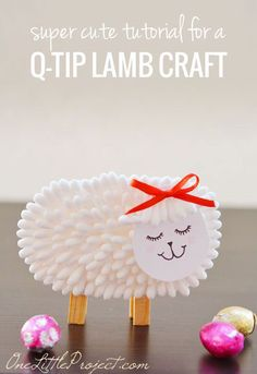 40+ Simple Easter Crafts for Kids - Q-Tip Lamb Craft