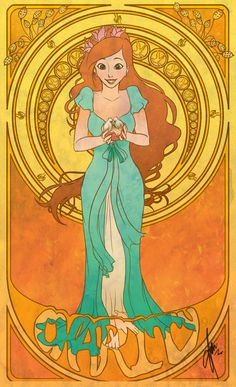 Disney Cast: Art Nouveau + Disney - Parte As 7 Virtudes Disney Pixar, Disney Fan Art, Disney Animation, Disney E Dreamworks, Disney Princess Art, Disney Characters, Punk Disney, Art Nouveau Disney, Giselle Enchanted