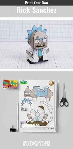 Rick and Morty paper toys, free downloadable paper crafts of Rick and Morty characters from Fold Up Toys