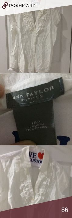 New Ann Taylor White v-neck blouse 10P A little wrinkled from storage but never worn new without tags great white summer top Ann Taylor Tops Blouses
