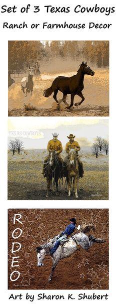 Texas Cowboys Art Set of 3 Rodeo Roundup Riding by GrayWolfGallery Cowboy Ranch, Texas Cowboys, Riding Horses, Cowboy Art, Rodeo, Folk Art, Farmhouse Decor, Etsy, Vintage