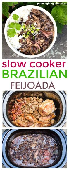Slow cooker Brazilian Feijoada: a Slow cooker recipe for Brazil's famously delicious meat and bean stew. #Brazilian #Stew
