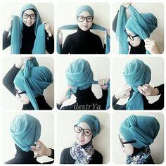Turban hijab style for school Very easy ;) Turban hijab style for school Very easy 😉 Turban Tutorial, Hijab Style Tutorial, Fashion Mode, Hijab Fashion, Mode Turban, Hair Wrap Scarf, Moslem, Head Scarf Styles, Hair Cover