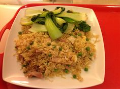 Slimming World syn free bacon fried rice with pak choi