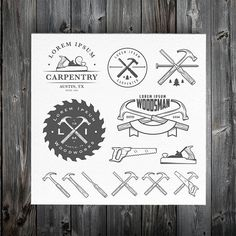 Vintage carpentry design elements by 1baranov on @creativemarket