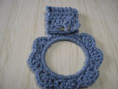 Towel Holder Crocheted Ring - Light Blue.  These make great gifts for the holidays with or without a towel.
