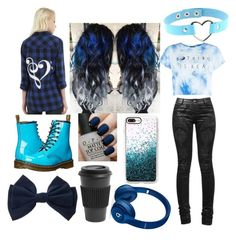 """""""Blue-Black"""" by sleeping-horizon-empires ❤ liked on Polyvore featuring OPI, Homage, Dr. Martens, Casetify and Beats by Dr. Dre"""