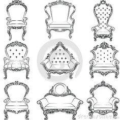 Baroque Luxury Style Armchair Furniture Set Stock Vector - Illustration of noble, refined: 75795171 Drawing Furniture, Baroque Furniture, Interior Design Sketches, Digital Art Tutorial, Art Poses, Drawing Base, Drawing Reference Poses, Designs To Draw, Book Design