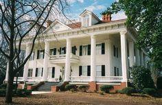 This 1833 Greek Revival in Covington, Georgia, which was the original model for Twelve Oaks (Gone With the Wind)
