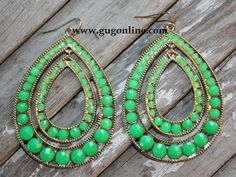 Giddy Up Glamour  Lime Green Double Teardrop Earrings  $12.95