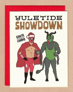 Santa vs. Krampus Luchadores Holiday Card by BettyTurbo on Etsy, $4.00