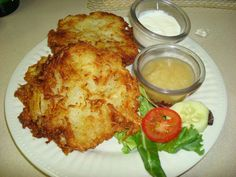 German soul food! Potato Pancakes with Applesauce and Sour cream