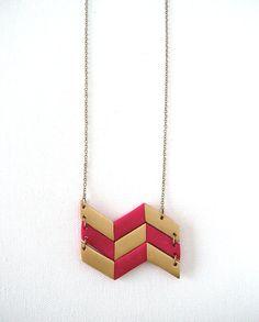 Geometric Chevron Polymer Clay Necklace Fuchsia by AQuietCuriosity, $28.00