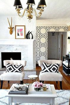 Black White Living Room Decor // Ikea Pillows-orientation of the chairs to the fireplace. Living Room Decor Ikea, My Living Room, Cozy Living, Kitchen Living, Wallpaper Inspiration, Black And White Living Room Decor, White Decor, White Rooms, Decoration Inspiration