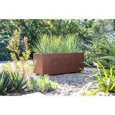 New Metallic Series Corten Steel Planter Box by Veradek Patio Garden Furniture. Fashion is a popular style Metal Wall Planters, Metal Planter Boxes, Corten Steel Planters, Window Planter Boxes, Hanging Planters, Front Yard Planters, Front Deck, Imperata Red Baron, Architecture Metal