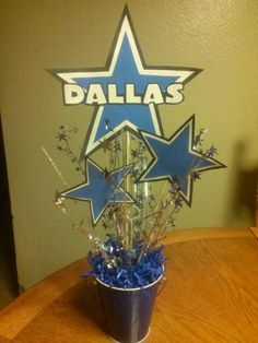 Made these Dallas Cowboy theme centerpieces for my god daughter