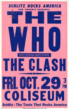 The Who & The Clash – 1982 Los Angeles Boxing-Style Concert Poster The Clash, Pop Posters, Poster Prints, Retro Posters, Recital, Concert Rock, Mundo Musical, Rock Band Posters, Vintage Concert Posters