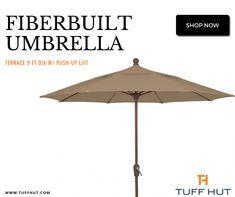 Fiberbuilt Umbrella Terrace 9 ft dia w/ Push-Up Lift - Tuffhut Shade Umbrellas, Outdoor Umbrellas, Celine, Push Up, Star Wars, Terrace, Patio, Backyard, Outdoor Decor