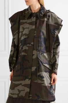 MM6 Maison Margiela - Hooded Camouflage-print Cotton-canvas Jacket - Army green - IT
