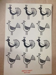 Images of plants and birds with motifs Images of plants and birds with motifs Eraser stamp of ART CRAFT KOTORI Images of plants and birds with motifs Images of plants. Indian Art Traditional, Modern Indian Art, Indian Folk Art, Worli Painting, Fabric Painting, Painting Abstract, Madhubani Art, Madhubani Painting, Cherokee Indian Art