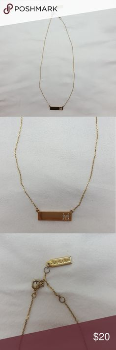 """Baublebar Pendant Bar """"M"""" Necklace Initial """"M"""" Bar Pendant  Lettering M has little jewels in them Baublebar Jewelry Necklaces"""