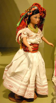 Totonac Doll Mexico | from the area of Pantepec, Puebla Mexico. She has her quechquemitl on her head. Zuno de Echeverria collection.