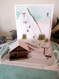 Now you have not heard from me for such a long time, I've honestly, already a guilty conscience, but today I have something nice for you. Look, the explosion box has … by Christmas Paper Crafts, Christmas Diy, Christmas Cards, Ski Card, Diy Exploding Box, Card In A Box, Diy Scrapbook, Scrapbooking, Tarjetas Pop Up
