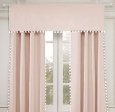 RH Baby & Child's Pom-Pom Linen-Cotton Drapery Panel:Once a sewing basket staple, sweet pom-pom trim puts a playful spin on our polished yet casual linen drapery. Pelmet Box, Curtain Pelmet, Drapery Panels, Valance, Pink Curtains Nursery, Kids Curtains, Modern Curtains, Nursery Blinds, Little Girl Bedrooms