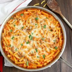 Skillet Baked Ziti with Sausage - brown the sausage, add canned tomatoes, add water pasta, then cream, parmesan. Sounds simple enough! I Love Food, Good Food, Yummy Food, Great Recipes, Dinner Recipes, Favorite Recipes, Yummy Recipes, Dinner Ideas, Pasta Dishes