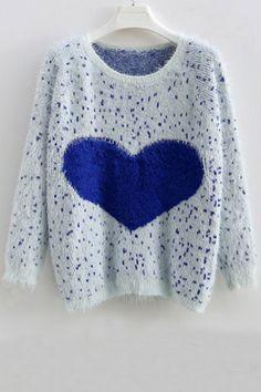 Heart Furry Sweater OASAP.com