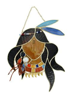 native american art for stained glass | Stained Glass Native American Princess Wall Plaque Suncatcher