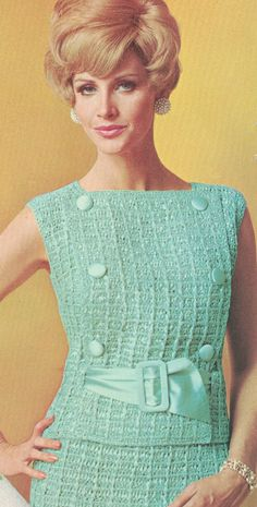 Vintage 1960s 2 Piece Dress with Half Belt Crochet Pattern PDF 6809