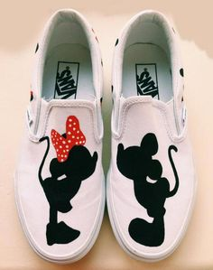 Mickey and minie mouse hand painted sneakers