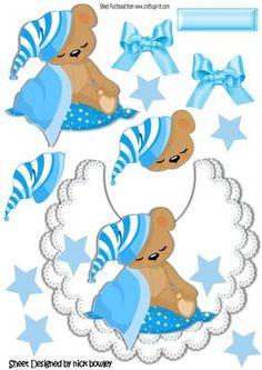 Baby teddy with his blue blanket on lace bib on Craftsuprint designed by Nick Bowley - Baby teddy with his blue blanket on lace bib with bows and stars, lovely for scrapbooking or card, lots of other bib designs to see - Now available for download!
