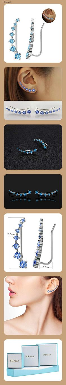 Elensan1 Bling Ohrklemmen 7 Kristalle 925er Sterling Silber Hypoallergen(Hellblau) - 14ed