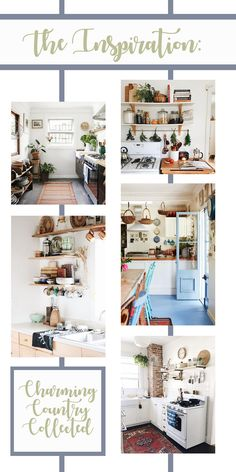 Stone Cottage Kitchen Design Plan (The White Buffalo Styling Co. Beach Kitchens, Cottage Kitchens, Cool Kitchens, Rustic Kitchen, Kitchen Decor, Old Country Houses, White Beams, Stone Cottages, Green Cabinets