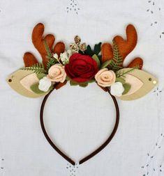 Reindeer headband Reindeer Antlers Christmas headband   Etsy Antler Headband, Felt Headband, Flower Headbands, Christmas Hair, Christmas Time, Xmas, Reindeer Headband, Diy Hair Bows, Ribbon Hair