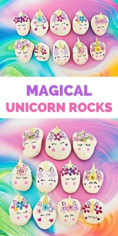 New painting rocks diy unicorn Ideas Rock Painting Ideas Easy, Painting For Kids, Art For Kids, Diy Painting, Rock Crafts, Fun Crafts, Diy And Crafts, Summer Crafts, Preschool Crafts
