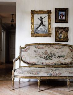 aubusson settee in a french-inspired home in johannesburg, south africa