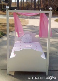Toddler canopy bed plans and instructions. Easier than you think! :)
